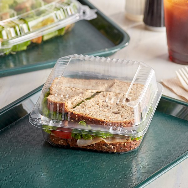 """Dart C25UT1 StayLock 6 1/8"""" x 6 1/2"""" x 3 1/4"""" Clear Hinged Plastic 6"""" Square Container - 125/Pack Main Image 2"""