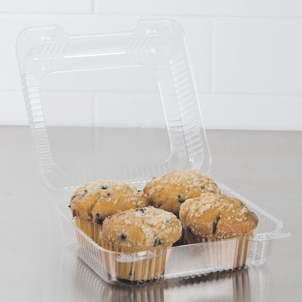 """Dart C55UT1 StayLock 9"""" x 8 5/8"""" x 3"""" Clear Hinged Plastic Large Container - 100/Pack"""