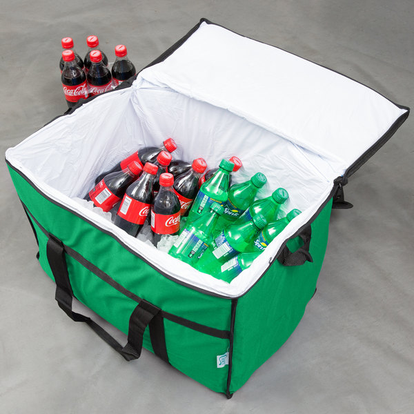 """Choice Insulated Leak Proof Cooler Bag / Soft Cooler, Green Nylon 22"""" x 13"""" x 14"""", with Foam Freeze Pack"""