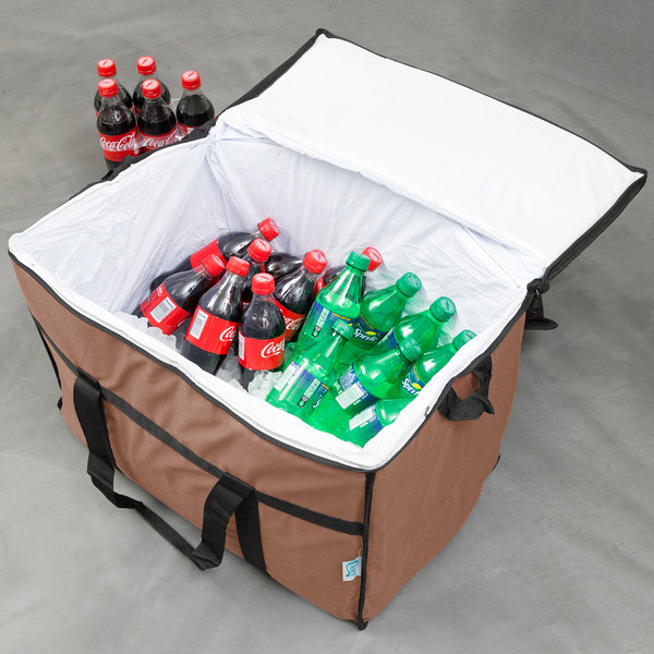 """Choice Insulated Leak Proof Cooler Bag / Soft Cooler, Brown Nylon 22"""" x 13"""" x 14"""", with Foam Freeze Pack"""
