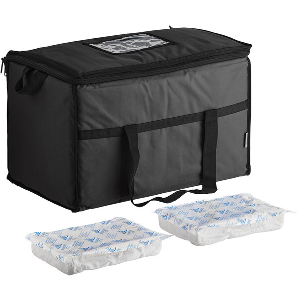 Choice Black Medium Insulated Nylon Cooler Bag with Brick Cold Packs (Holds 72 Cans) Main Image 1