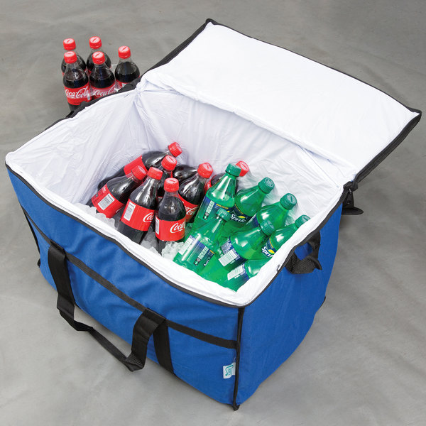"""Choice Insulated Leak Proof Cooler Bag / Soft Cooler, Blue Nylon 22"""" x 13"""" x 14"""", with Foam Freeze Pack"""