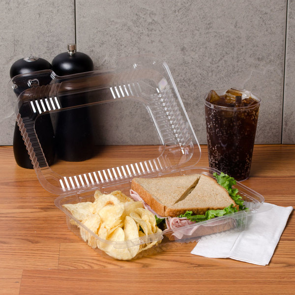 """Dart C32UT1 StayLock 9 3/8"""" x 6 3/4"""" x 2 5/8"""" Clear Hinged Plastic Medium Dome Oblong Container - 125/Pack"""