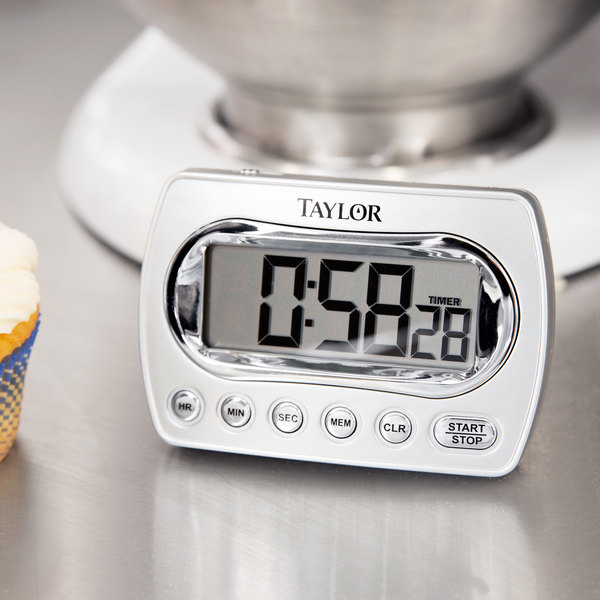 Taylor 5847-21 Digital Chrome Timer with Memory and Clock