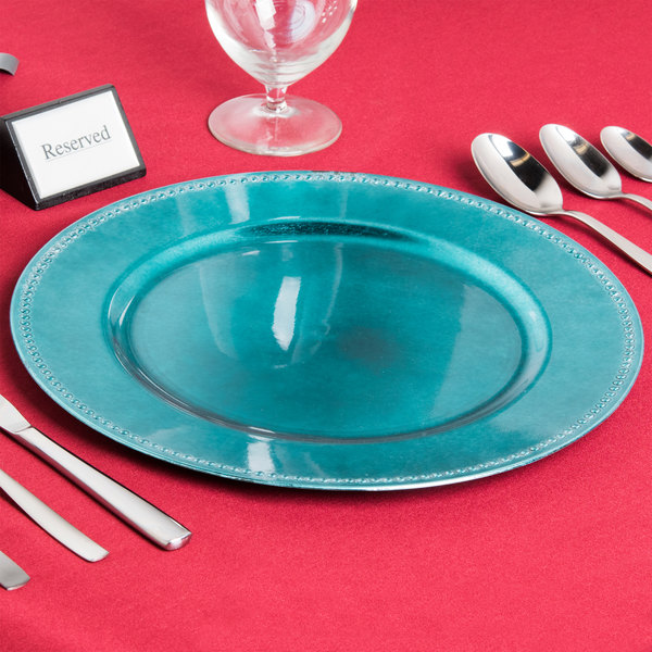 """The Jay Companies 1270171 13"""" Round Aqua Beaded Plastic Charger Plate"""