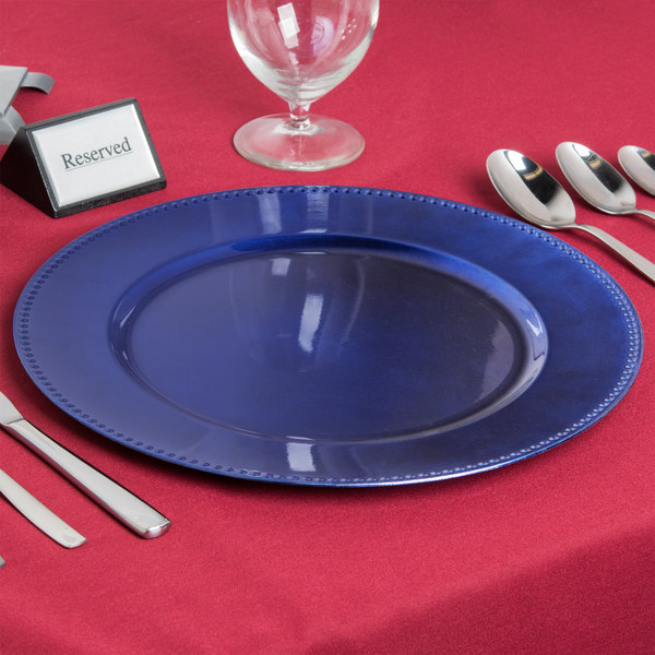 """The Jay Companies 1270168 13"""" Round Royal Blue Beaded Plastic Charger Plate"""