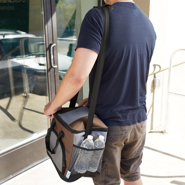 """Choice Insulated Leak Proof Cooler Bag / Soft Cooler, Brown Nylon 12"""" x 9"""" x 11 1/2"""", with Foam Freeze Pack Kit"""