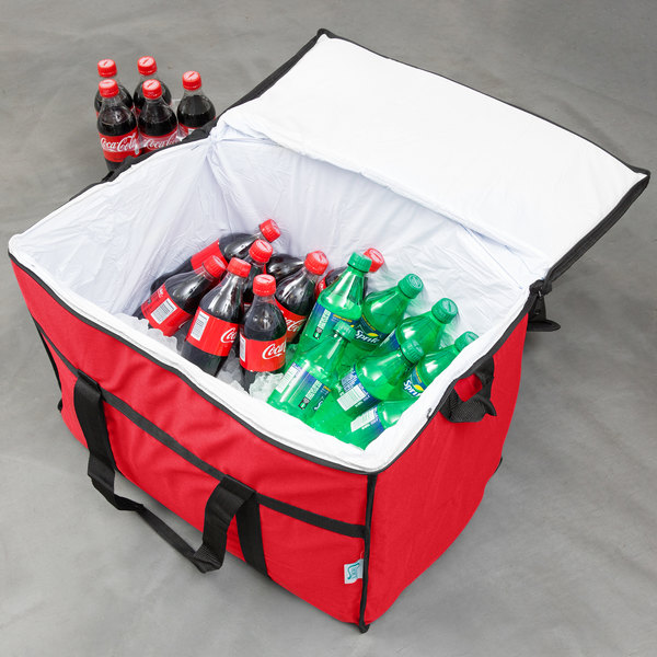 "Choice Insulated Leak Proof Cooler Bag / Soft Cooler, Red Nylon 22"" x 13"" x 14"", with Foam Freeze Pack"