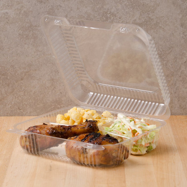 """Dart C51UT3 StayLock 8 1/4"""" x 7 3/4"""" x 3"""" Clear Hinged Plastic Medium 3-Compartment Container - 125/Pack Main Image 3"""
