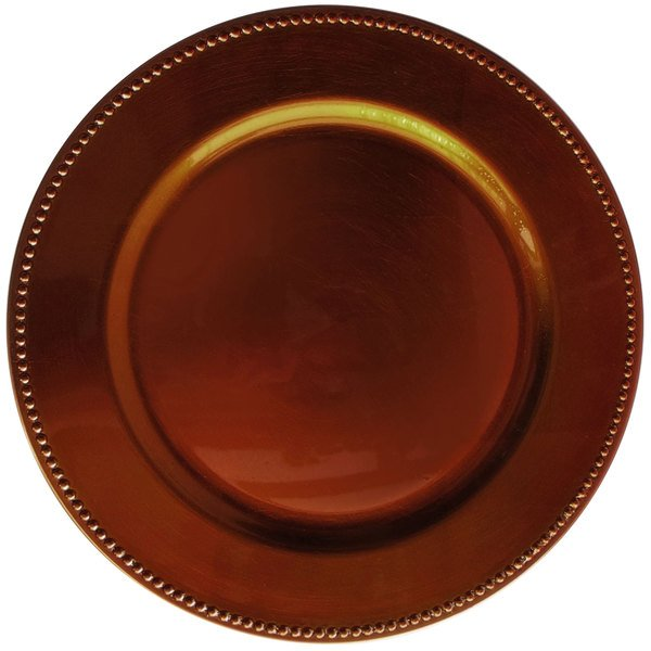 """The Jay Companies 1270172 13"""" Round Copper Beaded Plastic Charger Plate"""