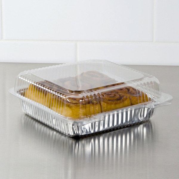 """Dart C80UT1 StayLock 10 1/2"""" x 8 5/8 x 3 3/4"""" Clear Hinged Plastic 10 1/2"""" Deep Base Oblong Container - 100/Pack"""