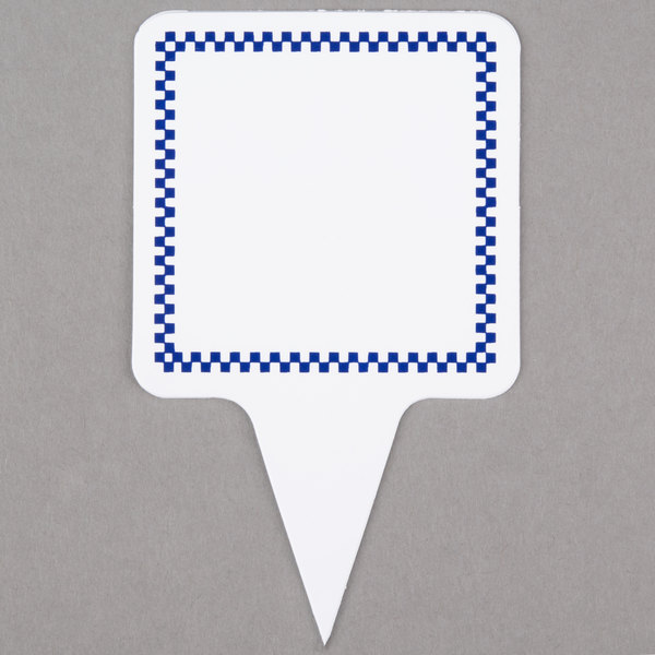 Square Write On Deli Sign Spear with Blue Checkered Border - 25/Pack Main Image 1