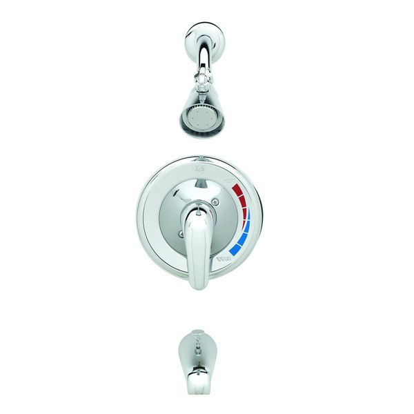 T&S B-3300 Shower Package with Pressure Balancing Mixing Valve, Shower Head, Chrome Face Plate, and Tub Spout - Threaded Connections