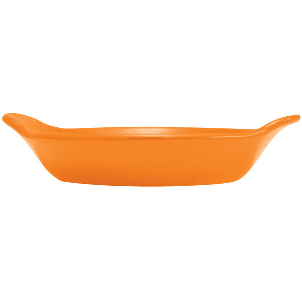 Hall China 30434325 Tangerine 12 oz. Colorations Round Au Gratin Baking Dish - 24/Case