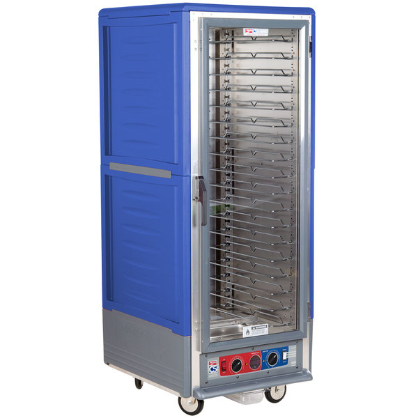 Metro C539-CLFC-U-BU C5 3 Series Low Wattage Universal Slide Heated Holding and Proofing Cabinet with Clear Single Door - Blue Main Image 1