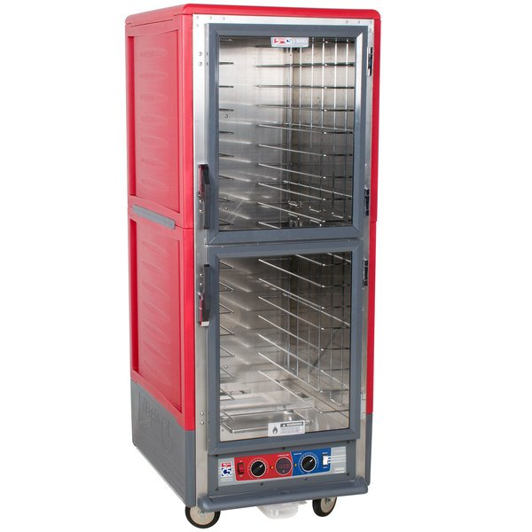 Metro C539-CLDC-4 C5 3 Series Low Wattage Heated Holding and Proofing Cabinet with Clear Dutch Doors - Red Main Image 1