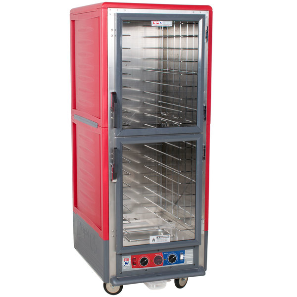 Metro C539-CLDC-4 C5 3 Series Low Wattage Heated Holding and Proofing Cabinet with Clear Dutch Doors - Red