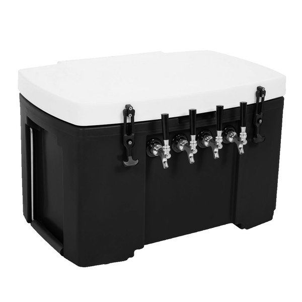 """Grizzly Cooler 4 Faucet Black Jockey Box with (4) 120' Coils - 30"""" x 20 1/2"""" x 20"""""""