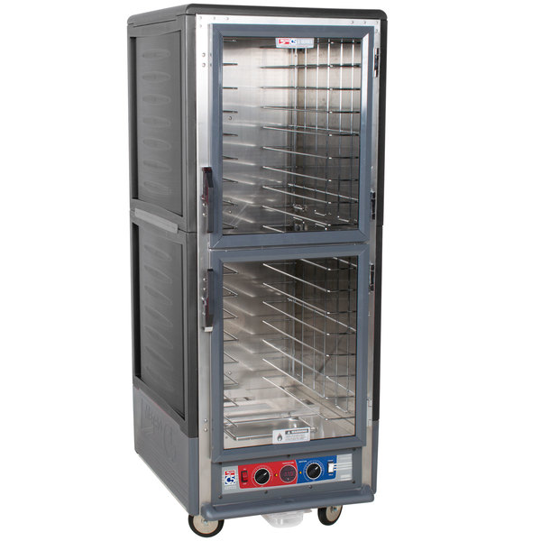 Metro C539-CLDC-L-GY C5 3 Series Low Wattage Lip Load Heated Holding and Proofing Cabinet with Clear Dutch Doors - Gray