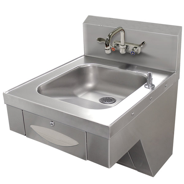 "Advance Tabco 7-PS-46 Hand Sink with Splash Mount Faucet and Wrist Handles - 20"" x 24"" Main Image 1"