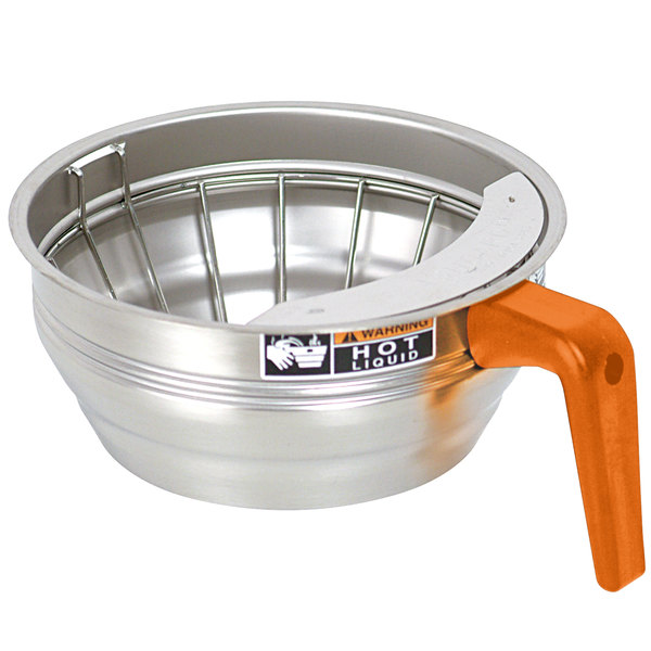 Bunn 20216.0001 Stainless Steel Funnel Assembly with Orange Handle for Bunn Coffee Brewers - 7 1/8""