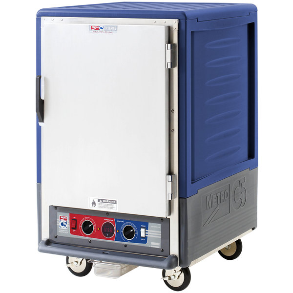 Metro C535-CLFS-4 C5 3 Series Insulated Low Wattage Half Size Heated Holding and Proofing Cabinet with Fixed Wire Slides and Solid Door - Blue