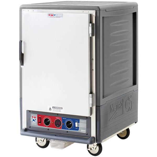 Metro C535-CLFS-4 C5 3 Series Insulated Low Wattage Half Size Heated Holding and Proofing Cabinet with Fixed Wire Slides and Solid Door - Gray