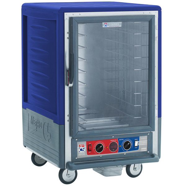 Metro C535-CLFC-4 C5 3 Series Insulated Low Wattage Half Size Heated Holding and Proofing Cabinet with Fixed Wire Slides and Clear Door - Blue