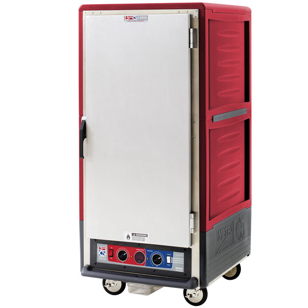 Metro C537-CLFS-L C5 3 Series Insulated Low Wattage 3/4 Size Heated Holding and Proofing Cabinet with Lip Load Aluminum Slides and Solid Door - Red