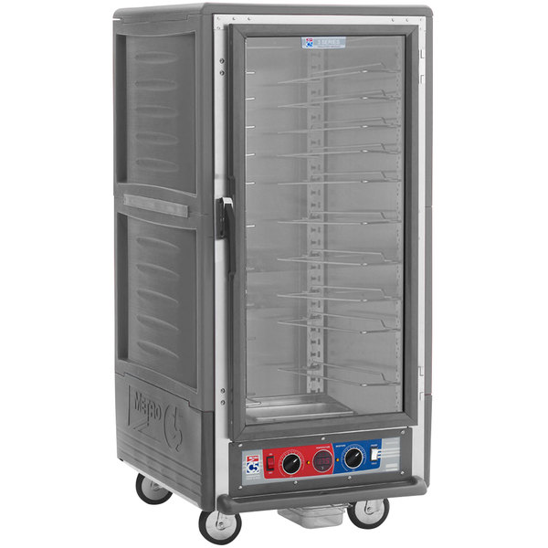 Metro C537-CLFC-U C5 3 Series Insulated Low Wattage 3/4 Size Heated Holding and Proofing Cabinet with Universal Wire Slides and Clear Door - Gray Main Image 1