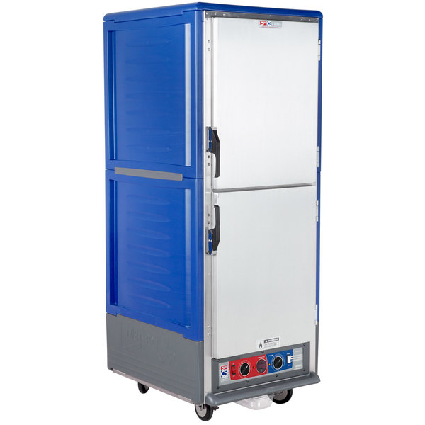Metro C539-CLDS-4-BU C5 3 Series Insulated Low Wattage Full Size Heated Holding and Proofing Cabinet with Fixed Wire Slides and Solid Dutch Doors - Blue Main Image 1