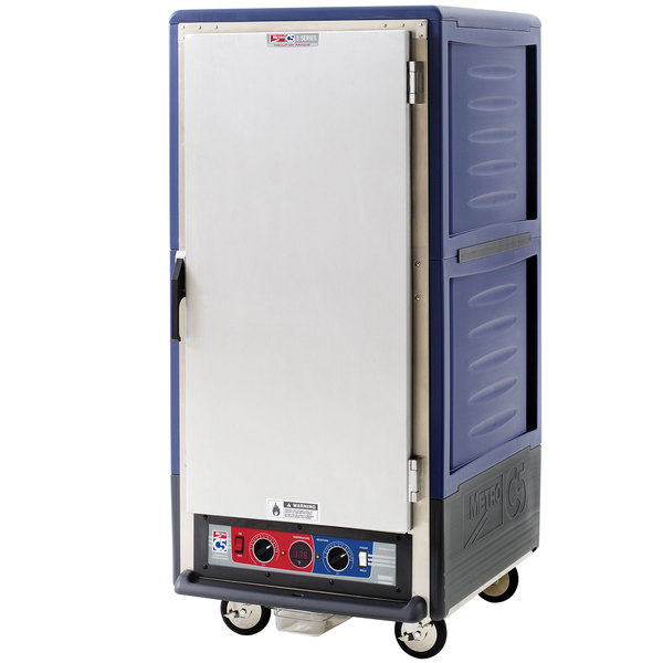 Metro C537-CLFS-4 C5 3 Series Insulated Low Wattage 3/4 Size Heated Holding and Proofing Cabinet with Fixed Wire Slides and Solid Door - Blue Main Image 1