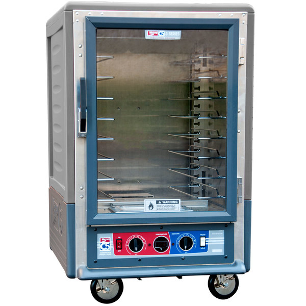 Metro C535-CLFC-U C5 3 Series Insulated Low Wattage Half Size Heated Holding and Proofing Cabinet with Universal Wire Slides and Clear Door - Gray