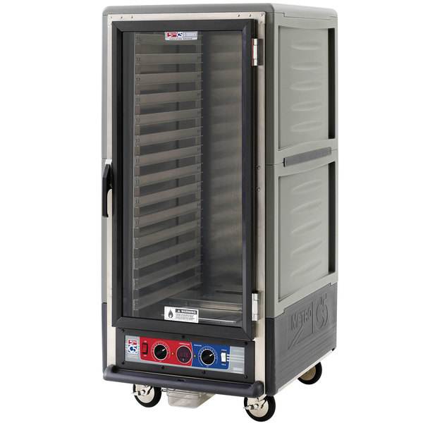 Metro C537-CLFC-L C5 3 Series Insulated Low Wattage 3/4 Size Heated Holding and Proofing Cabinet with Lip Load Aluminum Slides and Clear Door - Gray