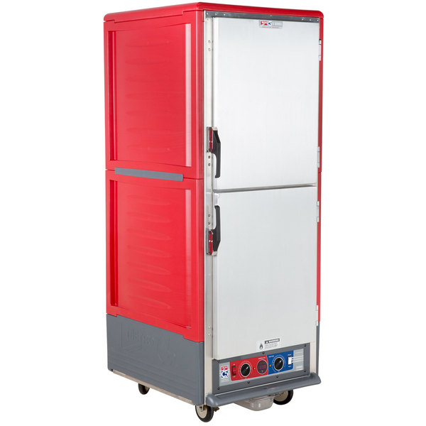 Metro C539-CLDS-4 C5 3 Series Insulated Low Wattage Full Size Heated Holding and Proofing Cabinet with Fixed Wire Slides and Solid Dutch Doors - Red Main Image 1