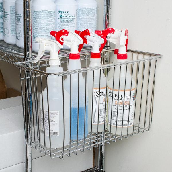 """Regency Chrome Storage Basket for Wire Shelving - 17 3/8"""" x 7 1/2"""" x 10"""""""