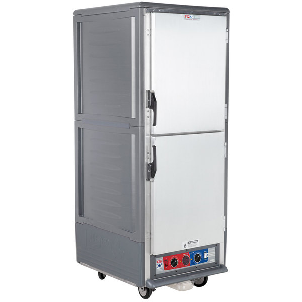 Metro C539-CLDS-4-GY C5 3 Series Insulated Low Wattage Full Size Heated Holding and Proofing Cabinet with Fixed Wire Slides and Solid Dutch Doors - Gray