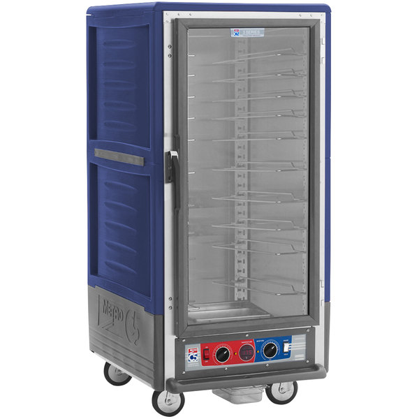 Metro C537-CLFC-U C5 3 Series Insulated Low Wattage 3/4 Size Heated Holding and Proofing Cabinet with Universal Wire Slides and Clear Door - Blue Main Image 1