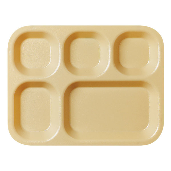 """Cambro 14105CW133 Camwear 10 11/16"""" x 13 7/8"""" Beige 5 Compartment Serving Tray - 24/Case Main Image 1"""
