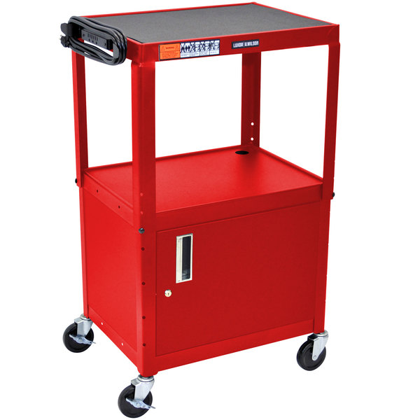 Luxor AVJ42C-RD Red Steel Adjustable AV Cart with Cabinet Main Image 1