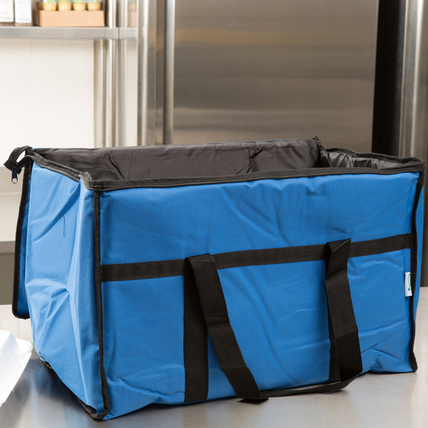 "Choice Insulated Food Delivery Bag / Soft Sided Pan Carrier with Foam Freeze Pack Kit, Blue Nylon, 23"" x 13"" x 15"""