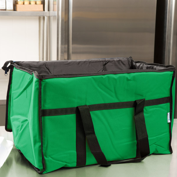 "Choice Insulated Food Delivery Bag / Soft Sided Pan Carrier with Foam Freeze Pack Kit, Green Nylon, 23"" x 13"" x 15"" Main Image 6"