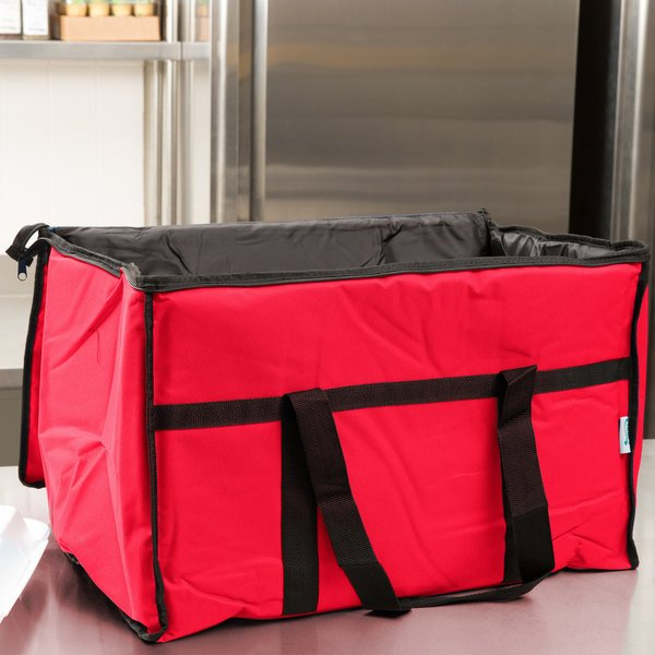 """Choice Insulated Food Delivery Bag / Soft Sided Pan Carrier with Foam Freeze Pack Kit, Red Nylon, 23"""" x 13"""" x 15"""""""