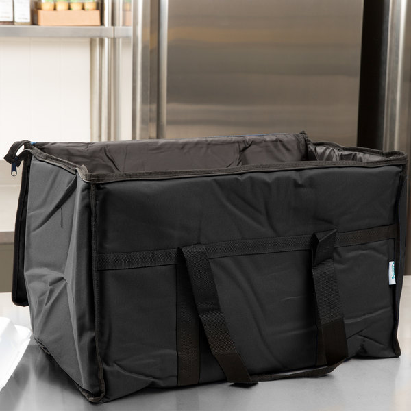 """Choice Insulated Food Delivery Bag / Soft Sided Pan Carrier with Foam Freeze Pack Kit, Black Nylon, 23"""" x 13"""" x 15"""" Main Image 6"""
