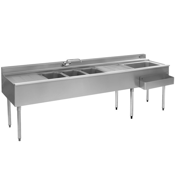 """Eagle Group BC8C-22R Combination Underbar Sink and Ice Bin with Three Sinks, Two Drainboards, One Faucet, and Right Side Ice Bin - 96"""""""