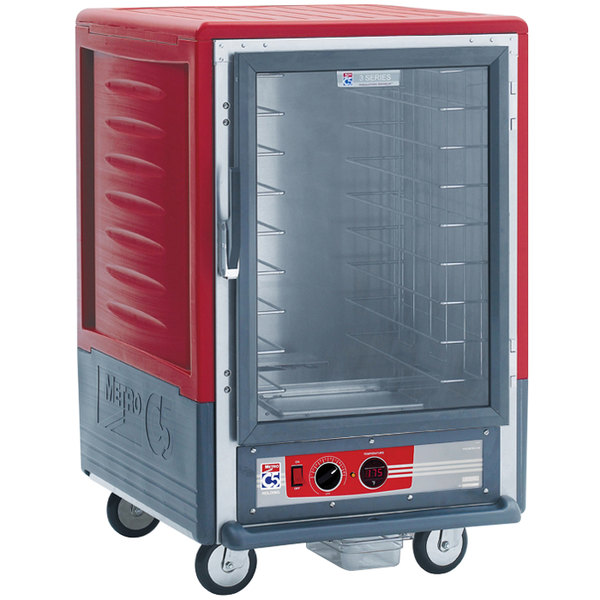Metro C535-HLFC-L C5 3 Series Insulated Low Wattage Half Size Heated Holding Cabinet with Lip Load Slides and Clear Door - Red