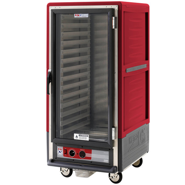 Metro C537-HLFC-L C5 3 Series Insulated Low Wattage 3/4 Size Heated Holding Cabinet with Lip Load Aluminum Slides and Clear Door - Red Main Image 1