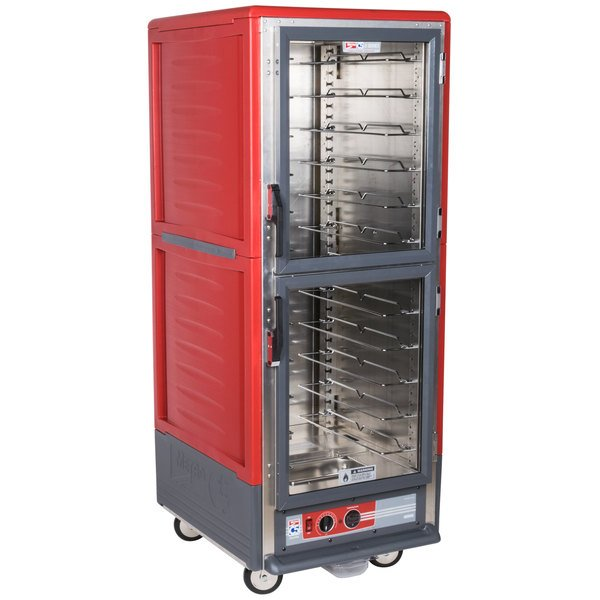Metro C539-HLDC-U C5 3 Series Insulated Low Wattage Full Size Hot Holding Cabinet with Universal Wire Slides and Clear Dutch Doors - Red Main Image 1