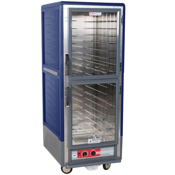 Metro C539-HLDC-4 C5 3 Series Insulated Low Wattage Full Size Hot Holding Cabinet with Fixed Wire Slides and Clear Dutch Doors - Blue Main Image 1