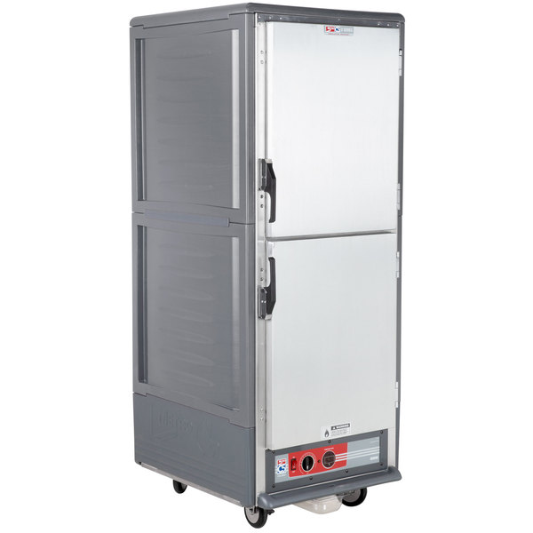 Metro C539-HLDS-4 C5 3 Series Insulated Low Wattage Full Size Hot Holding Cabinet with Fixed Wire Slides and Solid Dutch Doors - Gray